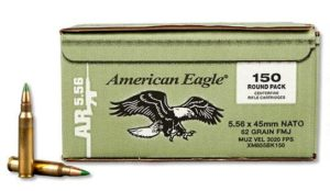 SALE! Federal American Eagle 5.56 NATO, XM855 Green Tip, 62gr, FMJ, 150 Rounds: $69