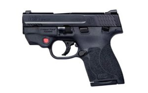 S&W LE Shield M2.0, Semi-automatic Pistol, Striker Fired, Compact Frame, 9mm, 3.1″ Barrel, Polymer Frame, Black Finish, 2 Magazines (1-7Rd & 1-8Rd), Crimson Trace Laser, Thumb Safety, Fixed Sights