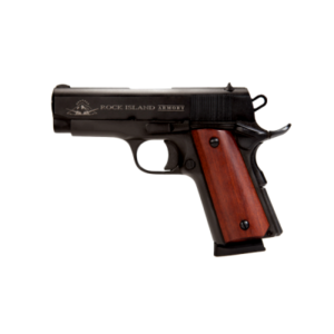 New Rock Island 1911, Compact .45 ACP, 3.5″ Barrel, Alloy Frame, Parkerized Finish, Wood Grips, Fixed Sights, 1 Magazine, 7 Rounds: $429