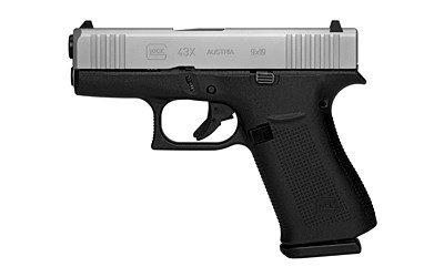 New Glock 43X, 9mm, 3.4″ Barrel, Polymer Frame, Silver Finish Slide, Fixed Sights, 10 Rounds, 2 Magazines: $479